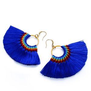 Fringe fan earrings